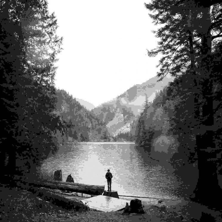 Hiking lakeside